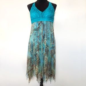 Sue Wong Dress 12 Silk Halter Chiffon Crochet Sexy